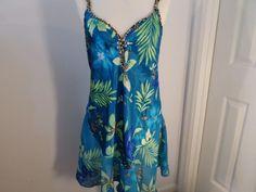 Secret Treasures Turquoise Print Nightie Babydoll Size M (8-10) RN 42529 #SecretTreasures #Sleepshirt