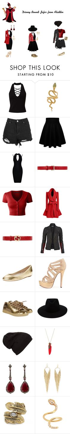 """Disney Bound: Jafar from Aladdin"" by the-shadowrider ❤ liked on Polyvore featuring Miss Selfridge, Boohoo, Gucci, LE3NO, Francis Leon, Elorie, adidas, rag & bone, Annoushka and Jules Smith"