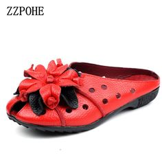 >> Click to Buy << ZZPOHE 2017 Summer Women Sandals Fashion Soft Leather Genuine Hollow Out mother Flat shoes Woman Handmade Casual Sandals #Affiliate