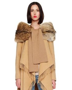 MICHAEL Michael Kors  Ribbed Scarf with Fur.