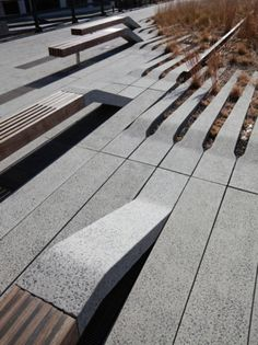 Highline NYC - I lost count of how many times I tripped over these raised concrete blocks. The design is stunning thoug Landscape Elements, Urban Landscape, Landscape Design, Garden Design, Urban Furniture, Street Furniture, Concrete Furniture, Art Furniture, Garden Furniture