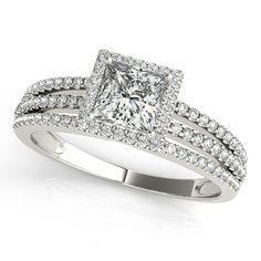 Princess Cut Moissanite Center Engagement Ring Diamond Setting - Rain
