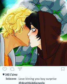Will Solace, Percy Jackson Ships, Percy Jackson Memes, Rick Riordan Series, Rick Riordan Books, Solangelo Fanart, Surprise Kiss, Princesa Disney, Uncle Rick
