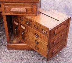 Antique Wooton Tiger Oak Desk C 1890 Fantastic Hidden Rotating File Very RARE | eBay