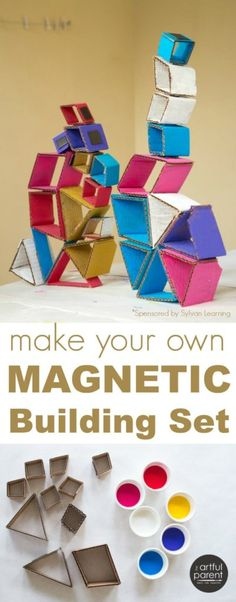 Fun Crafts for Kids: How to make your own magnetic building set for kids using cardboard and magnets. These magnetic shapes are easy to make, fun to play with, and cheap! Projects For Kids, Diy For Kids, Craft Projects, Crafts For Kids, Arts And Crafts, Fun Crafts, Stem Activities, Activities For Kids, Make Your Own