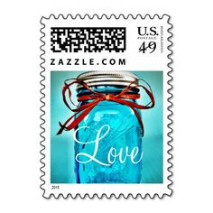 Shop Aqua Teal Blue Mason Jar LOVE Wedding Stamps created by RusticCountryWedding. Personalize it with photos & text or purchase as is! Mason Jar Wedding Invitations, Anniversary Party Invitations, Country Wedding Invitations, Wedding Invitation Design, Wedding Stamps, Invites, Teal Blue, Aqua, Turquoise