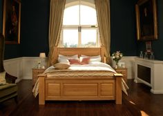 The Ambassador is a majestic large solid wooden bed, ideal for larger bedrooms. Big Bedrooms, Large Bedroom, Wooden Bed Frames, Wooden Beds, Bedroom Inspo, Bedroom Decor, Solid Oak Beds, Big Beds