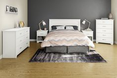 Create a trendy and peaceful bedroom with South Shore Furniture Fusion Laminate Particleboard Full or Queen Headboard in Pure White. Queen Headboard, Panel Headboard, Ikea Headboard, Contemporary Headboards, Peaceful Bedroom, White Nightstand, Types Of Beds, 5 Drawer Chest, Double Dresser