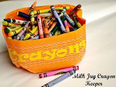 Milk Jug Crayon Bucket #diy #MilkJugs