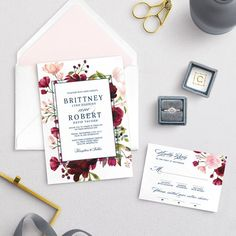 Burgundy Blush Painted Flowers Wedding Invitations - Floral Invitation - Botanical Ceremony Invites, Custom - Personalized Navy Invites from Ivory Isle Designs Wedding Invitation Samples, Floral Invitation, Floral Wedding Invitations, Invites, Colored Envelopes, Custom Fonts, Response Cards, Favor Tags, As You Like