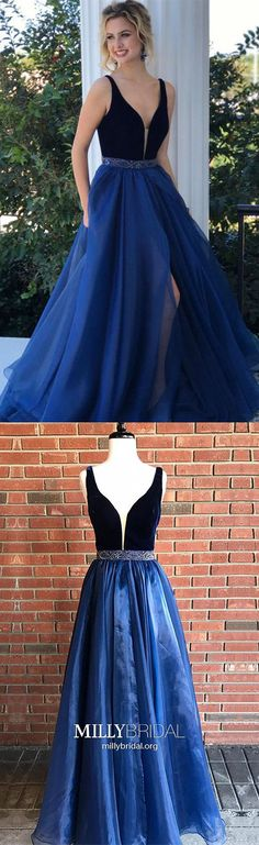 Long Prom Dresses For Teens,Royal Blue Prom Dresses with Slit,Simple Prom Dresses A-line,Elegant Prom Dresses V-neck,Velvet Prom Dresses with Beading