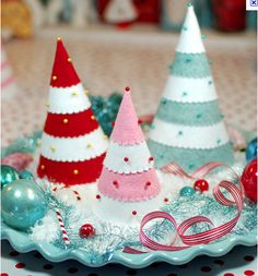 diy felt christmas trees ideas styrofoam stripes pins