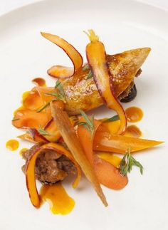 Marcus Wareing's quail & carrot summer savoury  ***  A challenging recipe adapted from one by Michelin-starred British celebrity chef Marcus Wareing, who helped make the film 'Burnt' a feast for food lovers