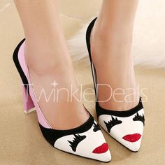 Trendy Color Block and Pointed Toe Design PU Leather Women's Pumps