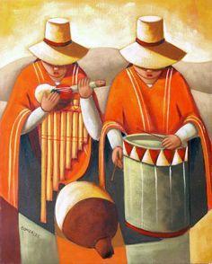 Resultado de imagen para pinturas cholas Peruvian Art, Latino Art, Figurative Kunst, Mexican Artists, Arte Popular, Indigenous Art, Naive Art, Native American Art, Oeuvre D'art