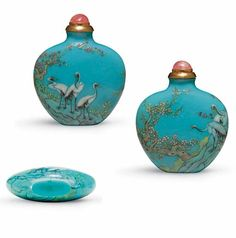 A rare enameled turquoise-blue glass snuff bottle.   Imperial, Yangzhou, Qianlong four-character mark in iron-red seal script and of the period.  Tourmaline stopper with gilt-silver collar. 1770-1785
