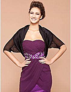 Short Sleeve Silk/ Polyester Office & Career Jackets/ Wraps – USD $ 10.99