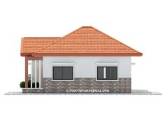 Two bedroom small house design is small version of Ruben Model. Simple design with long span galvanized iron roofing, pre-paint metal tile effect on steel purlins and trusses. Wall is white Two Bedroom House Design, House Roof Design, Simple House Design, Gate Design, Philippines House Design, Affordable House Plans, Modern Bungalow House, Modern Houses, House Construction Plan