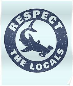 'Respect The Locals Hammerhead Shark' Sticker by banwa Save Planet Earth, Save Our Earth, Surfboard Painting, Save The Sharks, Hammerhead Shark, Mma, Marine Conservation, Macbook Decal, Shark Week