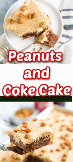 Peanuts and Coke? Yes, it is a thing and tastes especially delicious when it is served up as a cake!    A rich chocolate cake is a base for a super creamy peanut butter frosting.  The combination is magical.      It's ok if you aren't ready to drink peanuts coke, but, please try this cake! Mini Desserts, Easy No Bake Desserts, Cheesecake Desserts, Strawberry Desserts, Best Dessert Recipes, Cupcake Recipes, Cookie Recipes, Delicious Desserts, Cupcake Cakes