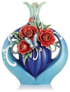 Franz Porcelain Collection The Everlasting Blessings Evergreen Peony Vase