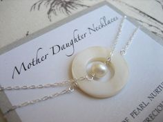 Mother Daughter Necklace. Mom wears the mother of pearl necklace and daughter wears the pearl. One to keep and one to give. Mother of pearl, nurturing, creator of its precious offspring, a beautiful natural pearl.  May these necklaces be a reminder   of the strength and bond   the love a mother and daughter   have for each other, always