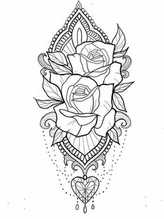 Inspirational coloring pages from Secret Garden, Enchanted Forest and other colo. - Inspirational coloring pages from Secret Garden, Enchanted Forest and other coloring books for grow - Adult Coloring Pages, Colouring Pages, Coloring Books, Coloring Pages For Grown Ups, Kids Coloring, Coloring Sheets, Free Coloring, Rose Tattoos, Sexy Tattoos