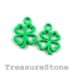 Happy St. Patrick's Day! Charm, green, metal, 13mm shamrock/ 4-leaf clover.