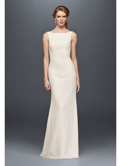 High-Neck Crepe Wedding Dress with Ruffled Back WG3833 I like the front but I don't like the ruffle on the back