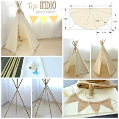 ▷ 1001 + Ideen und Bilder zum Thema Tipi selber bauen a white thread and blue scissors, a step by step diy guide, a window with a white curtain, a string and long wooden sticks, a teepee for kids to build