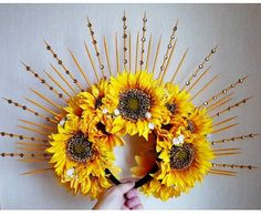This is made to order , each headdress is completely unique therefore i cant promise it will look identical !!  NEW - One Off - Bespoke Handmade Stunning Large Yellow Sunflower Floral Crown Headdress With Yellow Spikes And Golden Gems  Stunning stunning stunning - this headdress is simply Sunflower Floral Crowns, Yellow Sunflower, Flower Head Wreaths, Looks Halloween, Diy Crown, Diy Hair Accessories, Yellow Accessories, Festival Accessories, Festival Wedding
