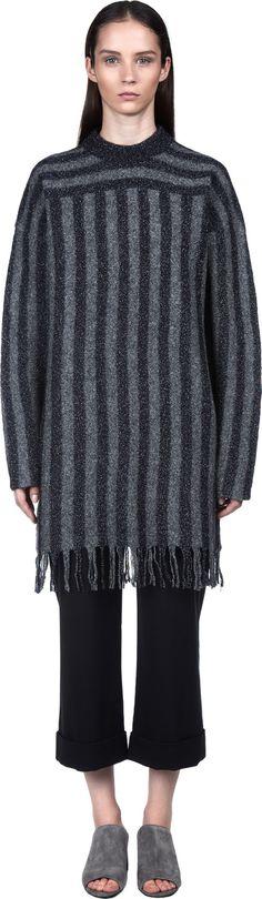 Crewneck Knit Dress w/ Fringe Hem | T by Alexander Wang | LOIT