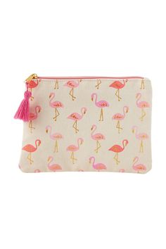 "Golden flamingo cosmetic bag has tasseled zipper pull with laminated wipe-clean interior. Sized to fit most tablets makeup and doubles as a wet bikini bag. Can also carry as a clutch! Measures 8""W x 6""H. Flamingo Cosmetic Bag by Slant Collections. Home & Gifts - Gifts & Things Michigan"