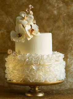 Ruffled cake with orchids