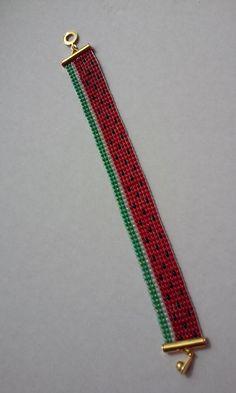 Bracelet Perles métier à tisser Pastèque
