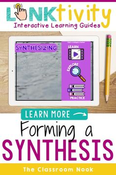 Use this Linktivity digital learning guide to teach forming a synthesis while reading in a fun and interactive way today. Upper elementary students (3rd, 4th, 5th) will love the hands-on reading activities (printable or digital), video, and high-interest practice passages. Teachers will get a comprehensive learning guide, lesson plans, anchor charts, assessments and MORE! Google Classroom compatible and perfect for distance learning. Get your synthesizing digital resource today! New Vocabulary Words, Vocabulary Practice, Classroom Posters, Google Classroom, Elementary Teacher, Upper Elementary, Student Bookmarks, Reading Comprehension Strategies, Interactive Learning