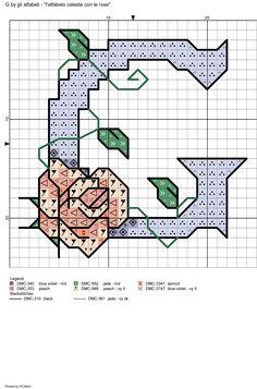 alfabeto celeste con le rose: G