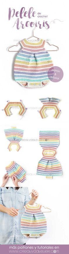 Learn How to Make This Crochet Rainbow Romper for Baby. FREE Step by Step Tutorial & Pattern. Cheerful, Colorful and Delicate at the same time! Crochet Romper, Baby Girl Crochet, Crochet Baby Clothes, Crochet For Kids, Crochet Hooks, Crochet Bikini, Knit Crochet, Crochet Dresses, Baby Knitting Patterns