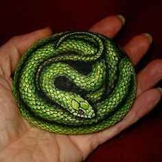 Rough green snake painted on a rock I found near my home
