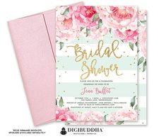 Beautiful bridal shower invitation with blush pink watercolor peony blooms, soft pastel mint green and white stripes and gold glitter sprinkle confetti dots. Modern hand lettered calligraphy script in gold glitter. Coordinating backer included! All of our invitations and coordinating paper goods are exclusively created in-house by Digibuddha designers - accept no cheap imitations.  *This invitation does not include real glitter, but rather a quality high resolution graphic that will print to…