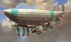 Steampunk Tendencies | Ian McQue #Steampunk #Character #Digitalart #Airship