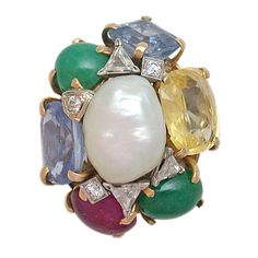 SEAMAN SCHEPPS Pearl & Colored Stone Cocktail Ring. Circa 1940s