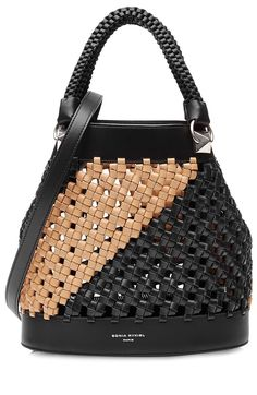 Sonia Rykiel Stranded Leather Bucket Bag In Black Purses And Handbags, Leather Handbags, Leather Bag, Dkny Handbags, Ladies Handbags, Sonia Rykiel, Bucket Bag, Fashion Bags, Fashion Shoes