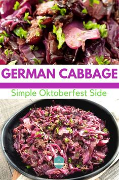 I made this authentic German red cabbage recipe that was so easy. I made it or an Oktoberfest Party and everyone LOVEd it! German Red Cabbage Recipes, Easy German Recipes, Sauteed Red Cabbage, Braised Red Cabbage, Oktoberfest Party, German Side Dishes, Sauerbraten Recipe, German Appetizers, Sweet And Sour Recipes
