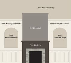 Our great room fireplace wall paint colors by Sherwin Williams : Accessible Beige, Dovetail, Black Fox (changed to Iron Ore), & Westhighland White