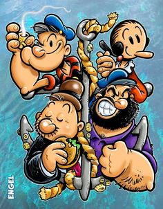 'Popeye Classic Comics' Covers Are Strong to the Finich Vintage Cartoons, Vintage Comic Books, Vintage Comics, Classic Cartoon Characters, Cartoon Tv, Cartoon Drawings, Popeye Cartoon Characters, Comics Und Cartoons, Animated Cartoons