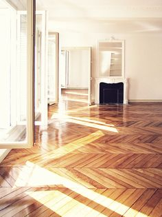 Chevron Patterned Wood Flooring.