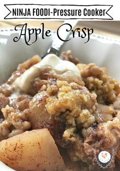 Apple crisp delight in the pressure cooker and Ninja Foodi - Home Pressure Cooking Need snacks for the kids? Try our Apple Crisp delight in the Pressure Cooker. Comforting fall foods and will be sure to delight the whole family. Pressure Cooker Desserts, Pressure Cooking, Healthy Pressure Cooker Recipes, Paleo, Keto, Ninja Recipes, Healthy Recipes, Healthy Food, Yummy Recipes