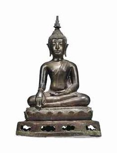 A BRONZE FIGURE OF BUDDHA THAILAND, LANNA PERIOD, 16TH CENTURY Cast, seated in sattvasana on a lotus base placed on a pedestal, his right hand in bhumisparshamudra, his left resting on his lap, wearing a monastic robe, his face with serene expression, his hair worked in tight curls rising to the ushnisha, surmounted by a separate cast flame 21 ¼ in. (51.5 cm.) high