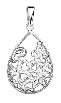 Sterling Silver Cut Away Filigree Pendant on a Silver Chain
